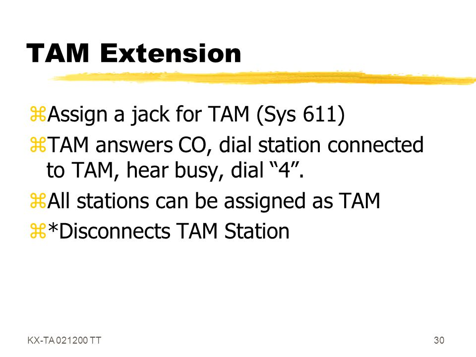 TAM Extension Assign a jack for TAM (Sys 611)
