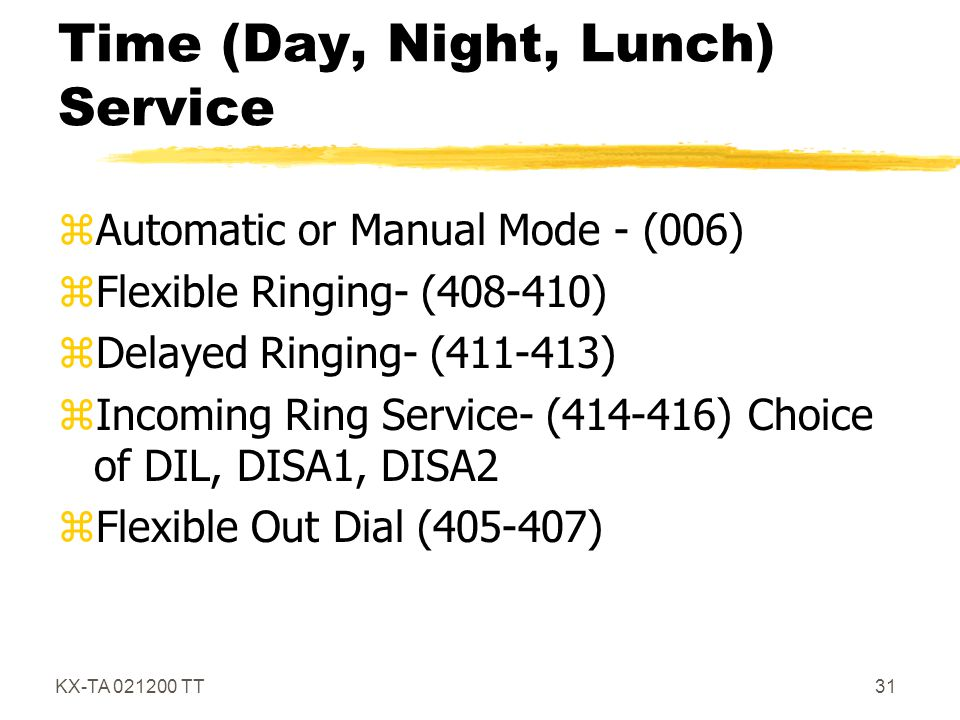 Time (Day, Night, Lunch) Service
