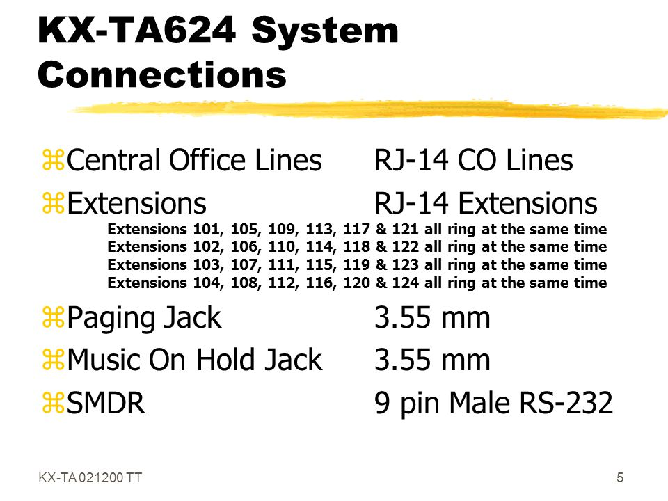 KX-TA624 System Connections
