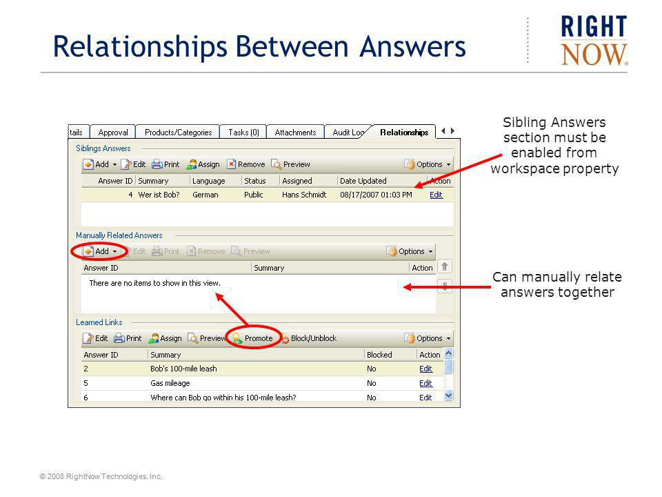 Relationships Between Answers