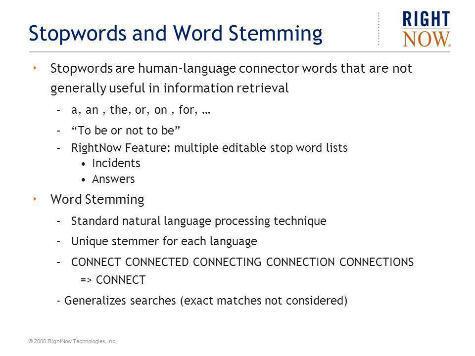 Stopwords and Word Stemming