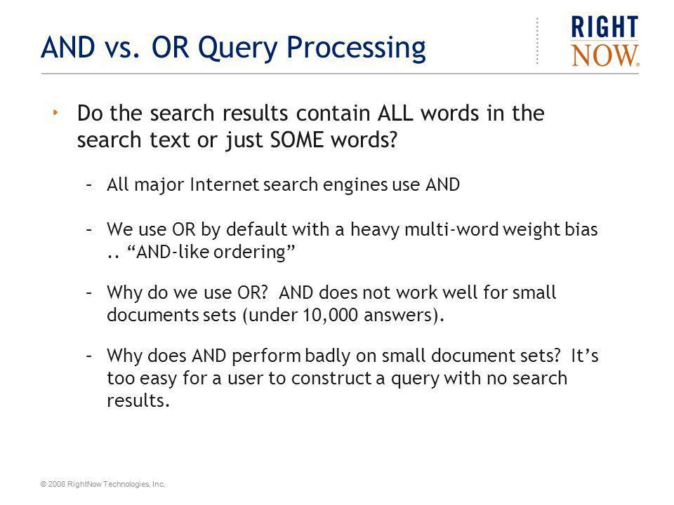 AND vs. OR Query Processing