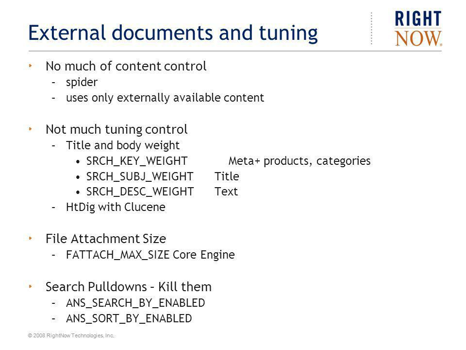 External documents and tuning