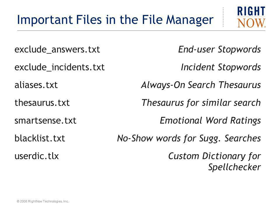 Important Files in the File Manager