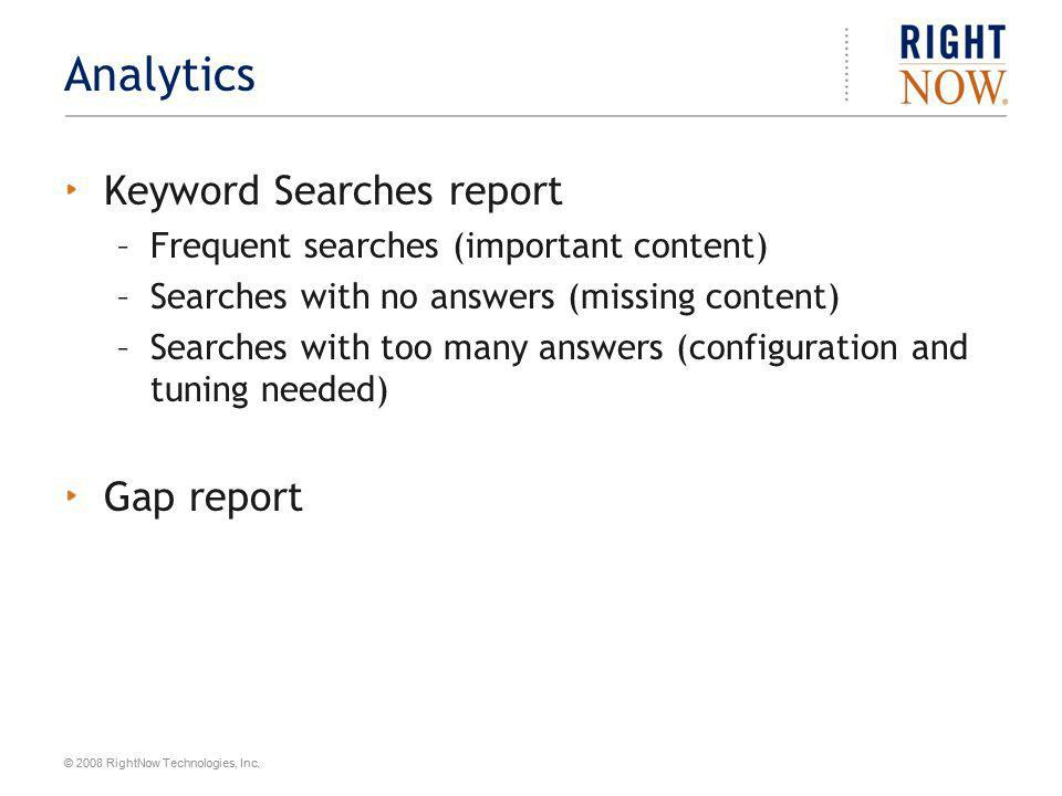 Analytics Keyword Searches report Gap report