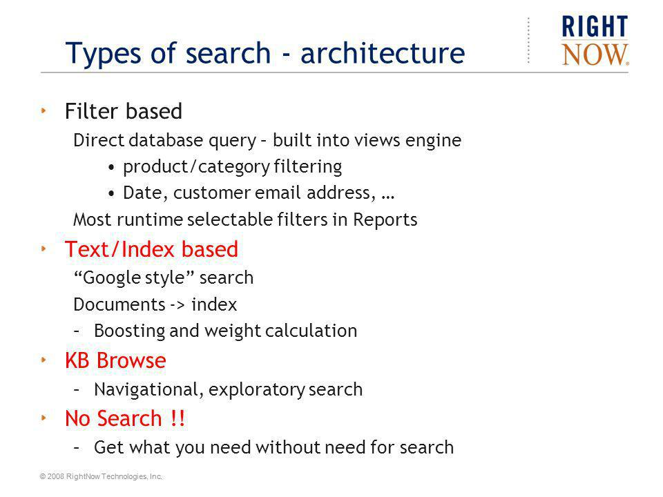Types of search - architecture