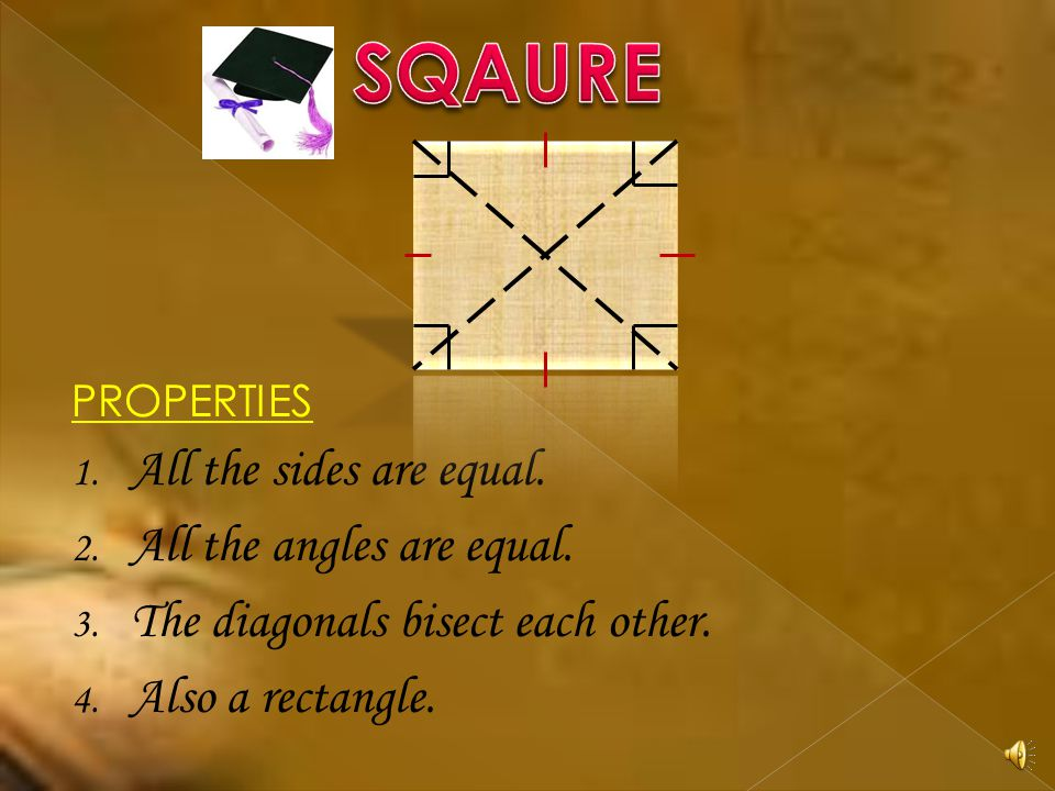 SQAURE All the sides are equal. All the angles are equal.