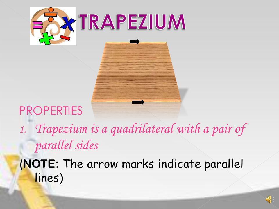 TRAPEZIUM Trapezium is a quadrilateral with a pair of parallel sides