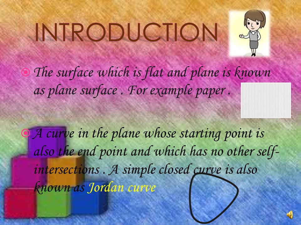 INTRODUCTION The surface which is flat and plane is known as plane surface . For example paper .