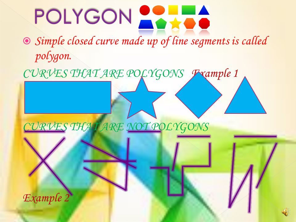 POLYGON Simple closed curve made up of line segments is called polygon. CURVES THAT ARE POLYGONS Example 1.