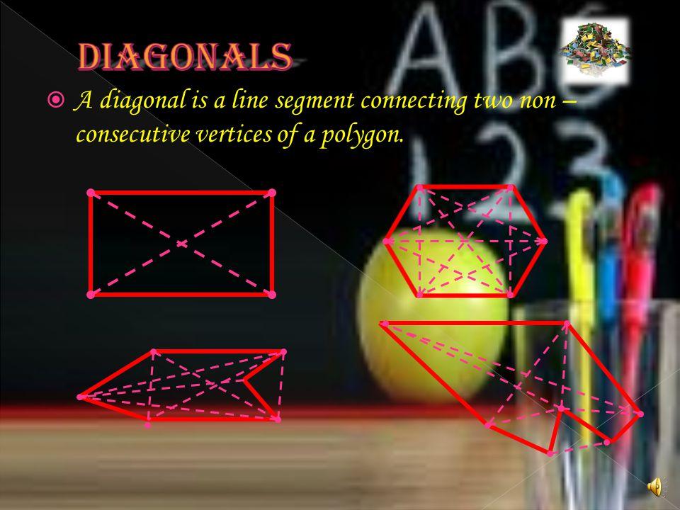 DIAGONALS A diagonal is a line segment connecting two non – consecutive vertices of a polygon.