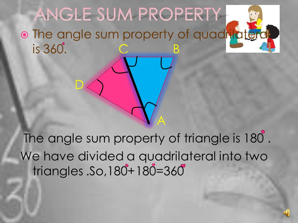 ANGLE SUM PROPERTY The angle sum property of quadrilateral is 360. C B