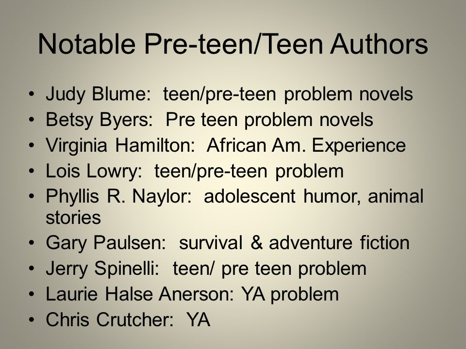 Notable Pre-teen/Teen Authors