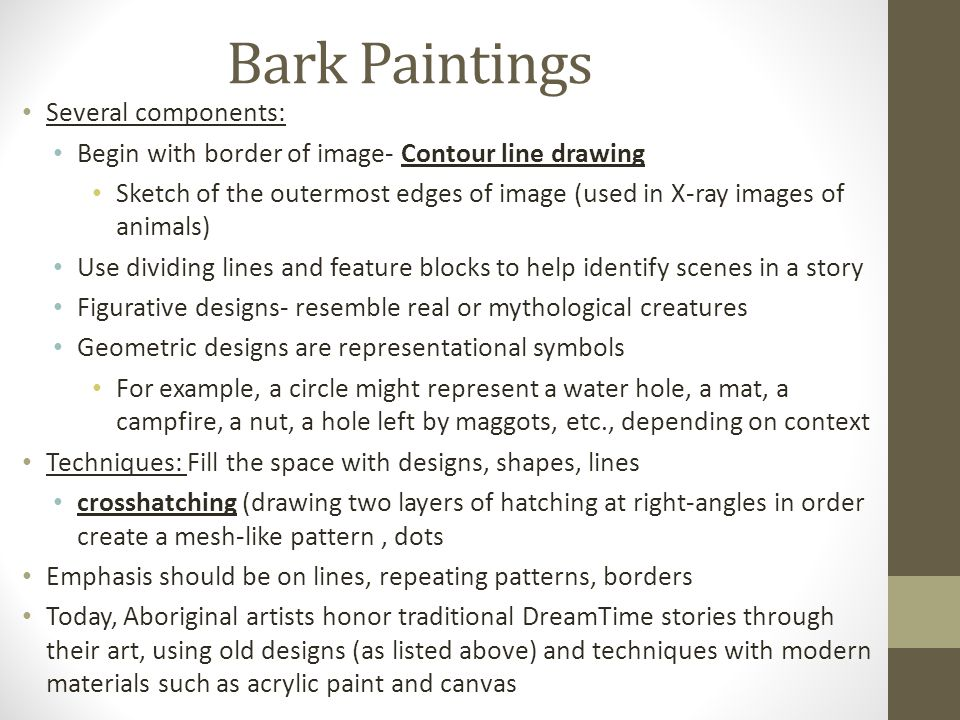 Bark Paintings Several components: