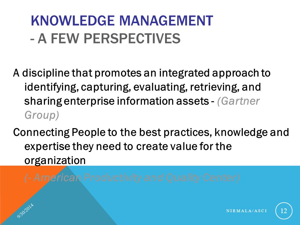 Knowledge Management - A few Perspectives