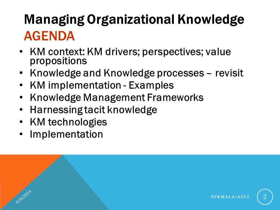 Managing Organizational Knowledge AGENDA