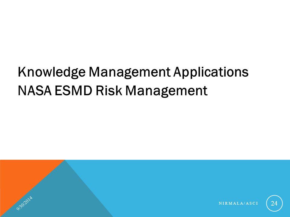 Knowledge Management Applications NASA ESMD Risk Management