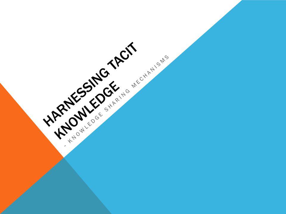 Harnessing tacit knowledge
