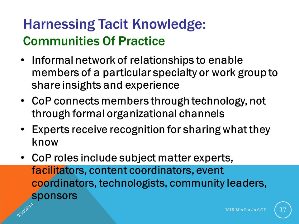 Harnessing Tacit Knowledge: Communities Of Practice