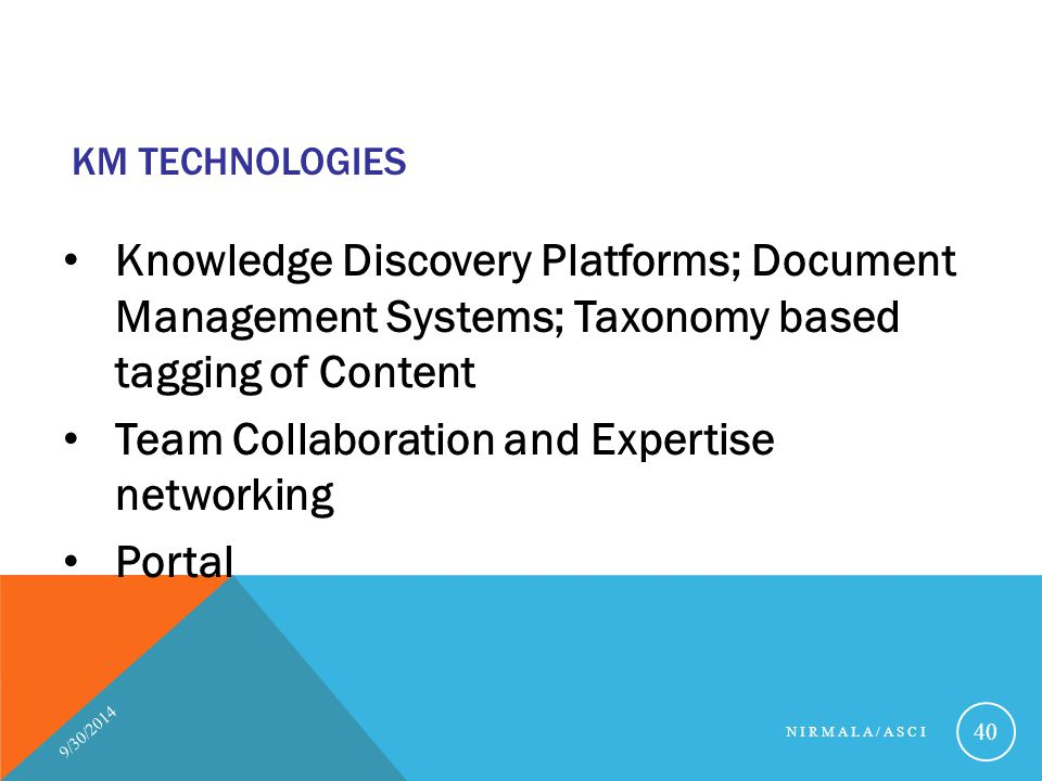 KM Technologies Knowledge Discovery Platforms; Document Management Systems; Taxonomy based tagging of Content.