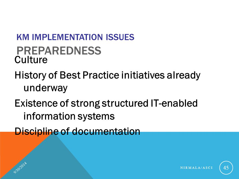 KM Implementation Issues Preparedness