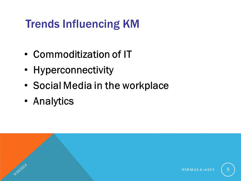 Trends Influencing KM Commoditization of IT Hyperconnectivity