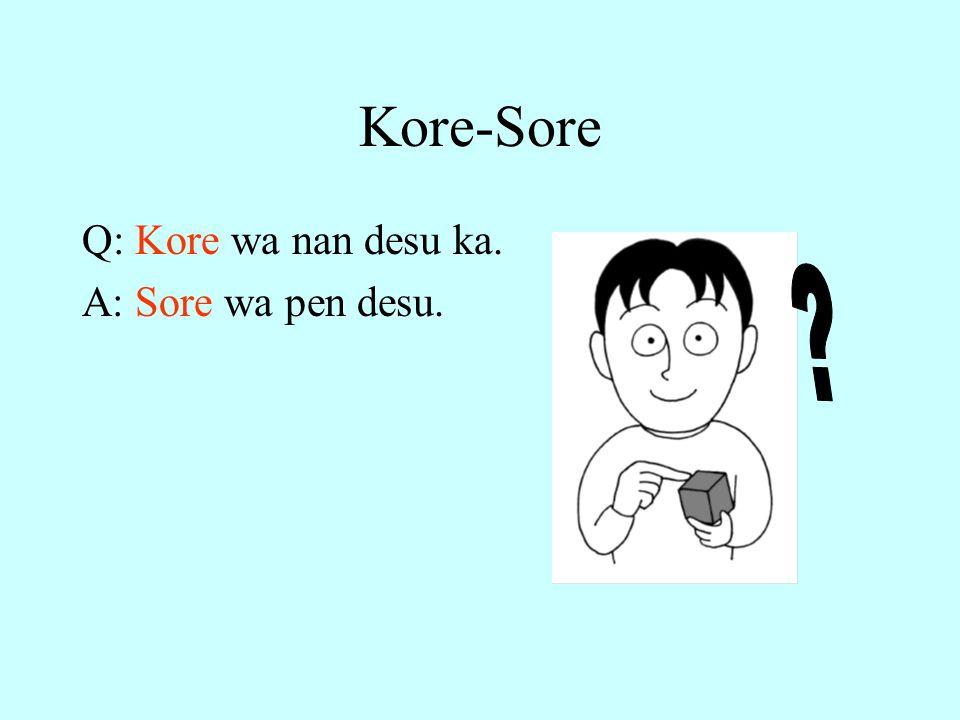 Kore-Sore Q: Kore wa nan desu ka. A: Sore wa pen desu.