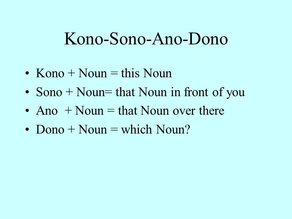Kono-Sono-Ano-Dono Kono + Noun = this Noun