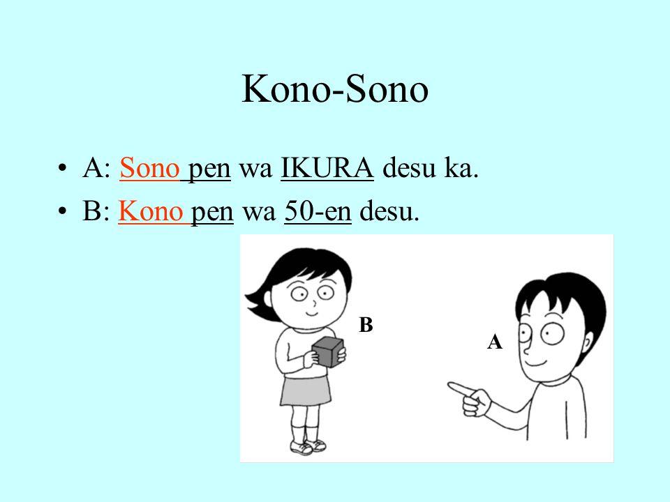 Kono-Sono A: Sono pen wa IKURA desu ka. B: Kono pen wa 50-en desu. B A