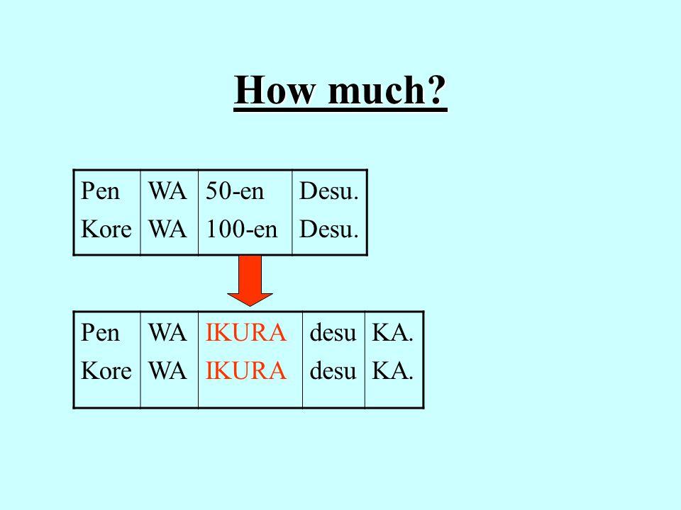 How much Pen Kore WA 50-en 100-en Desu. Pen Kore WA IKURA desu KA.