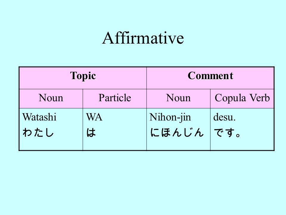 Affirmative Topic Comment Noun Particle Copula Verb Watashi わたし WA は