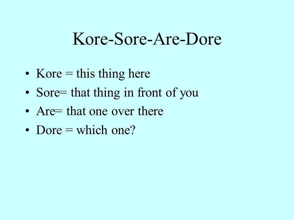 Kore-Sore-Are-Dore Kore = this thing here
