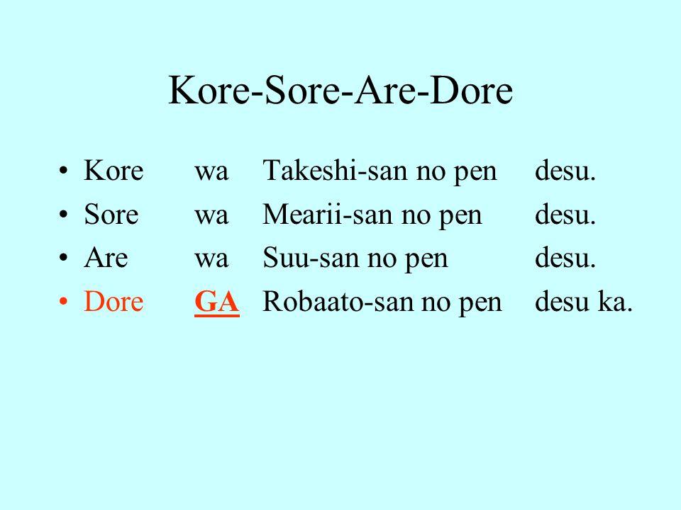 Kore-Sore-Are-Dore Kore wa Takeshi-san no pen desu.