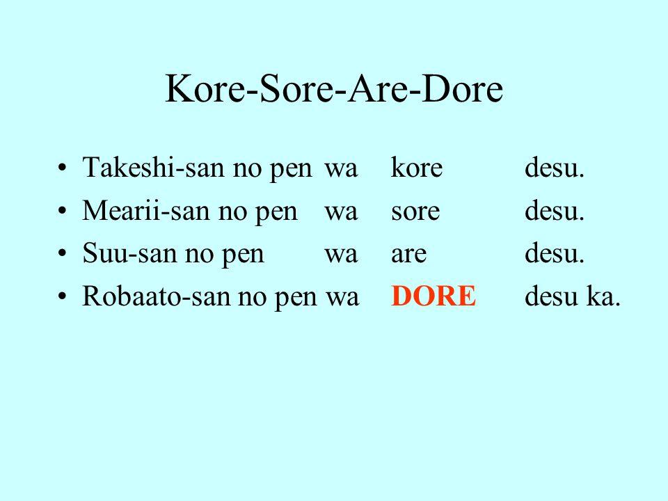Kore-Sore-Are-Dore Takeshi-san no pen wa kore desu.
