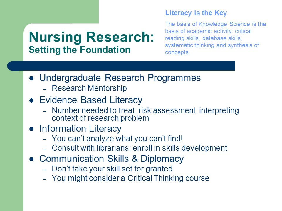 Nursing Research: Setting the Foundation