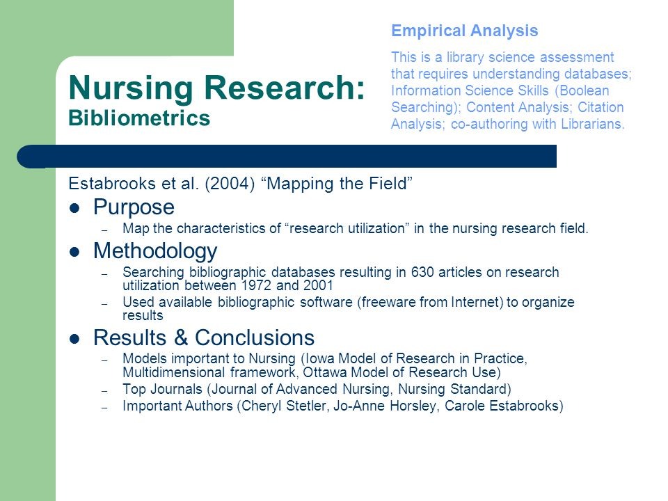 Nursing Research: Bibliometrics