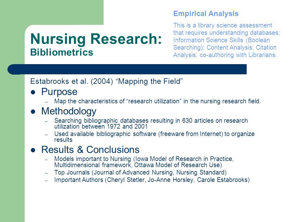 Nursing Research: Bibliometrics