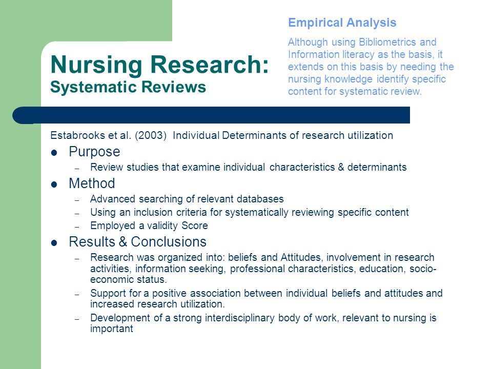 Nursing Research: Systematic Reviews