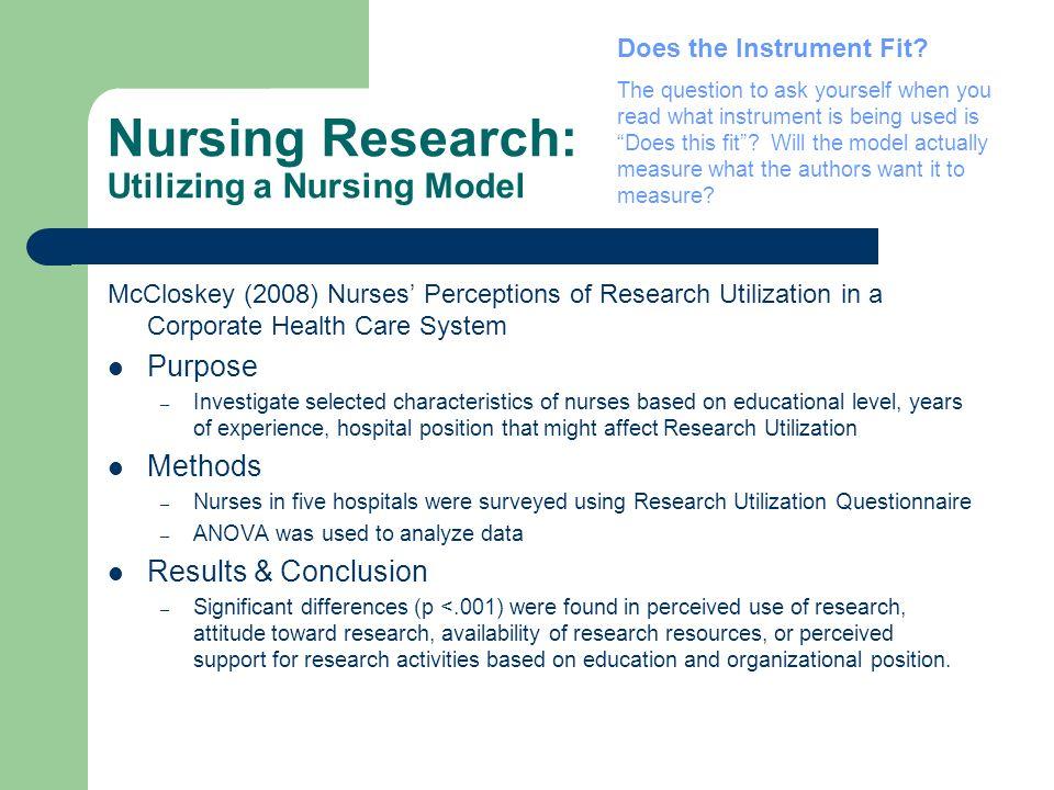 Nursing Research: Utilizing a Nursing Model