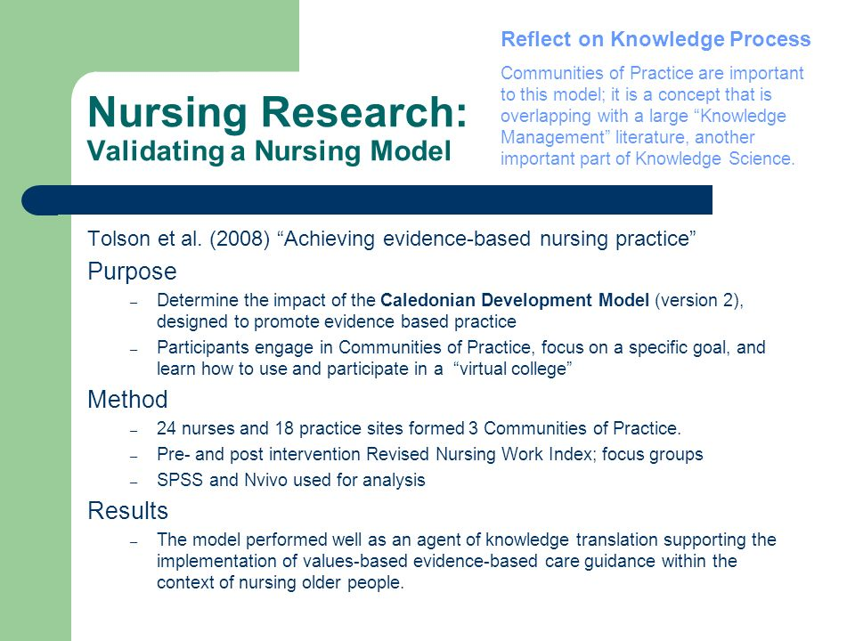 Nursing Research: Validating a Nursing Model