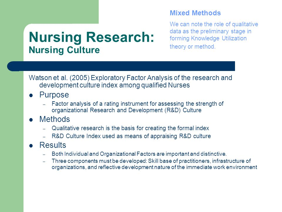 Nursing Research: Nursing Culture