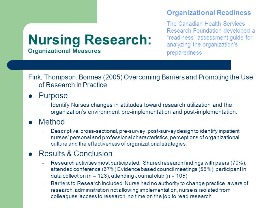 Nursing Research: Organizational Measures