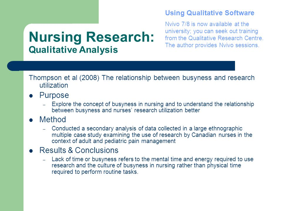 Nursing Research: Qualitative Analysis