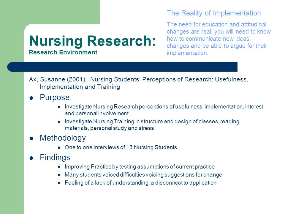 Nursing Research: Research Environment