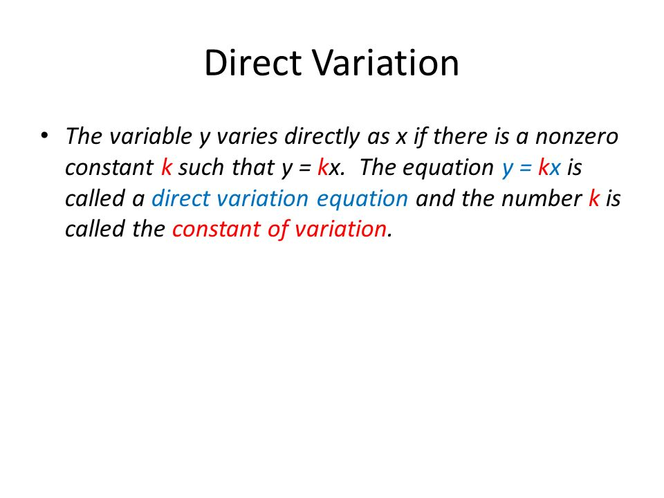 Direct Variation