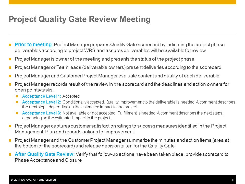 Project Quality Gate Review Meeting