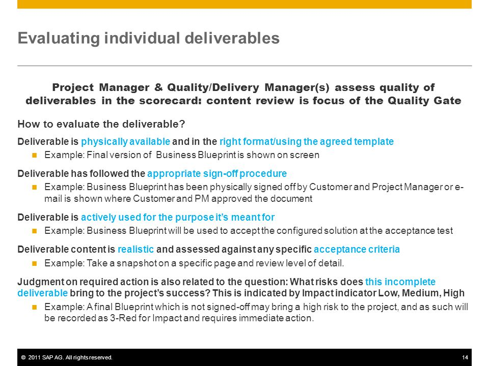 Evaluating individual deliverables