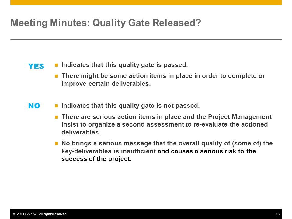 Meeting Minutes: Quality Gate Released