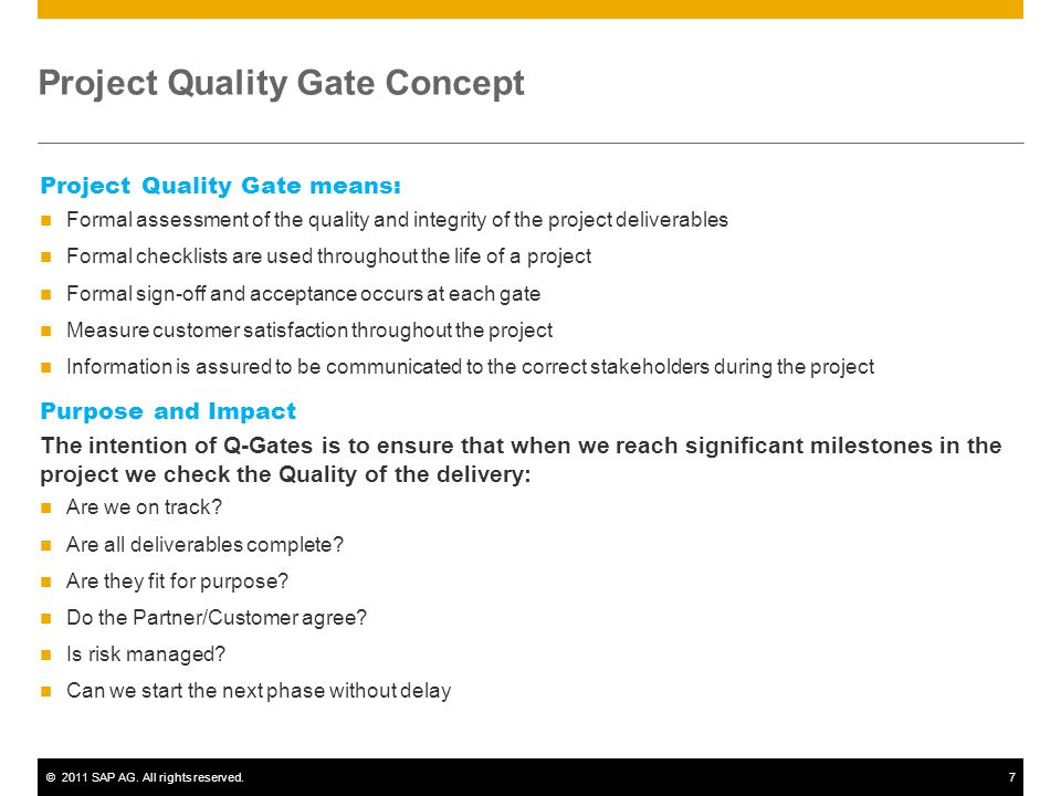Project Quality Gate Concept
