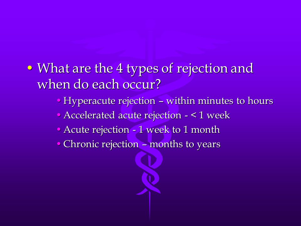 What are the 4 types of rejection and when do each occur